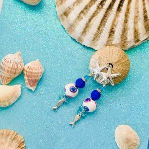 Pendientes estrella de mar y peces